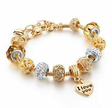 European Charm Bracelet Heart Crystal Gold Don & Abie (DA232)