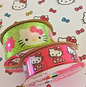 """Hello Kitty Neon Green Offray Satin Ribbon 1-1/2""""W + Hot Pink 7/8""""W Both 3 Yds L"""