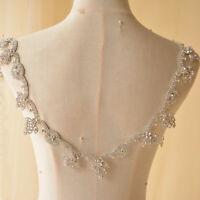 Sparkle Crystal Rhinestone Trims Bridal Dress Sash Belt Embellished Appliques