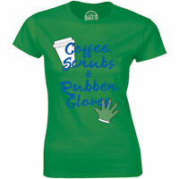 Coffee Scrubs And Rubber Gloves With Coffee Cup Image T-Shirt for Women