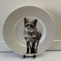 NWT Pier 1  ~ SNOW FOREST WINTER FOX Salad Plate Winter Woodland Christmas