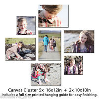 CANVAS PRINT YOUR PHOTO ON LARGE PERSONALISED BOX FRAMED CLUSTER SET 7 CANVASES