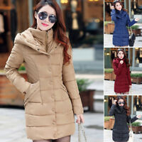 Women Winter Hooded Cotton Padded Down Jacket Outwear Long Puffer Coat Parka HOT