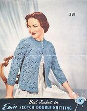 1  Vintage Original Emu Bed Jacket Knitting Pattern 381  (50s/60s?)
