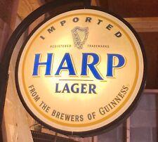 Scarce Rare Guinness Irish Pub Beer Harp Lager 2 Sided Pub Light Bar Sign