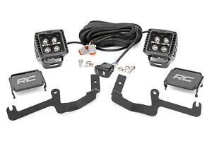 """Rough Country Chevy 2"""" LED Windshield Kit Black Series Amber DRL 19-20 Silverado"""