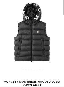Moncler Hooded Logo Down Gilet Vest Size 1