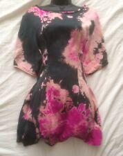 "(#2306) RENATO TERMENINI Unusual Silk Print Designer Dress Size ""S"" or 8 UK"