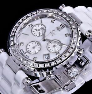 GC Guess - C. Frauen Keramik Damen Armband Uhr Weiß Chronograph 42 Diamanten