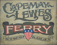 Cape May Ferry Print Delaware, New  map decor  vintage  style sign  NJ Lewes