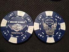 "Harley Davidson Poker Chip  'Blue & White' ""Silver Eagle H-D"" Waterloo, Iowa"