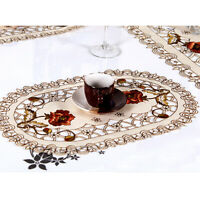 White Embroidered Lace Doilies Set of 4 Oval Floral Placemats 12x17inch