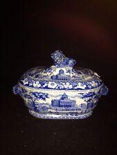 Rare Rogers Historical Dark Blue Staffordshire Boston State House Sauce Tureen