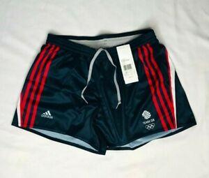 Adidas Womens Black Shorts Running Swim Team GB Red Stripes Girl 2XS XS UK 2 - 6