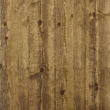 Heavy Textured Wood Wallpaper Et2048 faux lumber brown gold unpasted