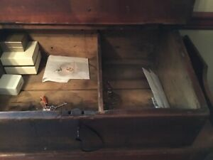 antique slant top pine Desk/ box