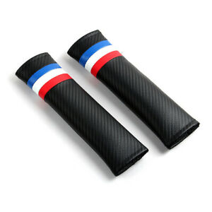 2x Carbon Leather France French Flag Car Seat Belt Shoulder Covers Cushions Pads