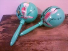 Vintage Set 2 Wooden Maracas Handmade Hand Painted Teal Mexico Both Sound Great!