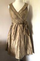 Derhy PISTACHE Gold 100% Crinkled Silk Dress Size M Sleeveless Wrap Fit & Flare