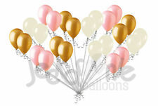 24 pc Chic Coral Gold & Ivory Latex Balloons Party Decoration Birthday Baby Girl