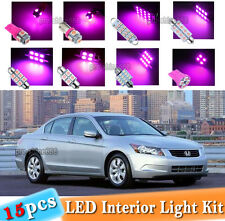 15-pc Pink LED Interior Light Bulbs Package Kit Fit 2003-2012 Honda Accord LX EX