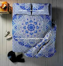 4 PC Set Ombre Mandala Print Blanket Indian Duvet Cover With Bed Sheet & Pillows