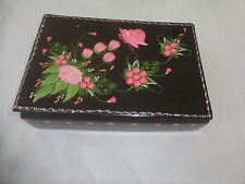 BLACK LAQUER BOX WITH PINK FLORAL AND BUTTERFLY DECORATION.