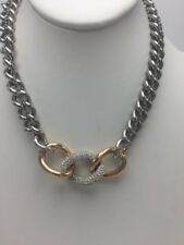 "$199 Swarovski Bound Rose Gold / Silver Tone Curb 18"" Necklace SW100"