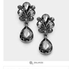 "1.7"" Long Gray Grey Black Dangle Glass Crystal Pageant Rhinestone Earrings"