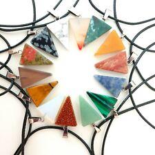 Yoga Triangle Chakra Necklace Quartz Reiki Crystal Healing Point Cut Pendant UK