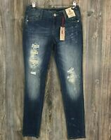 DECREE Super Skinny Low Rise Women's Blue Jeans Distressed Ripped Size 7