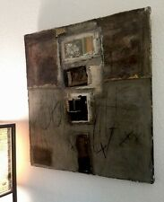 "Mixed Media Painting On Canvas By Linda Hilf, 29"" X 26"" Urban Abstract Concrete"