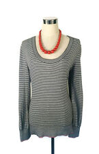 TOMMY HILFIGER LS Jumper - Striped Black White Pink Scoop Neck Cotton Knit L/12