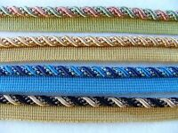 "Beautiful 3/8"" Silky Rayon Lip Cord Trim ~ Sold By the Yard ~ CHOICE of COLORS"