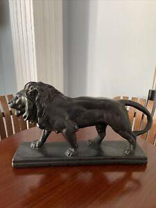 """Vintage Antoine Louis Barye Signed Bronze Sculpture """"Lion Marchant"""" Art Deco"""