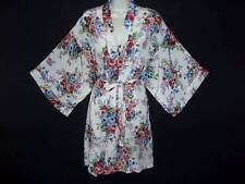 ROMANTIC ROSE PRINT CREAMY IVORY SILKY SMOOTH SATIN FEM FLIRTY KIMONO ROBE M