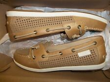 NIB Womens 9.5 Sperry Top-Sider Coil Ivy Perf Leather Tan Boat Shoes New $90