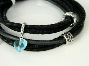 "ENDLESS Black Multi Leather 3 Strand Double Wrap Sterling 4 Charm Bracelet -7"""