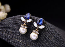 """Sapphire Blue Crystal & White Pearl Gold Plated Dangle Drop Earrings 1.5"""" Long"""