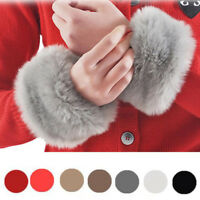 Fashion Ladies Fur Windproof Plush Cuff Elastic Wrist Gloves Sleeve Wristband LI