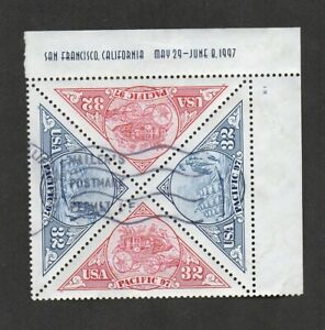 US #3131a, plate number block of 4, Mailer's Postmark Permit cancel.