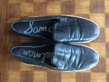 Sam Edelman Black Crocodile Leather Becker Slip on Shoes Size 8.5