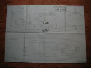 """Model Boat Plans of the Astra a scale tug 32"""" LOA beam 10"""""""