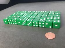 Set of 50 Six Sided D6 16mm Standard Dice Die - Green with White Pips Pair