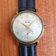 EXCELLENT VINTAGE BENRUS FANCY LUG GOLD FILLED WATCH - RUNNING CONDITION!