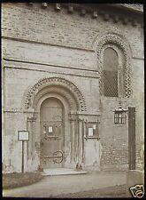 Glass Magic Lantern Slide NORTH DOOR IFFLEY CHURCH OXFORDFORSHIRE C1920 PHOTO
