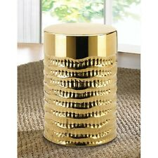 Gold Textured Ceramic Stool - Accent Plus - Indoor Outdoor Decor - Side Table