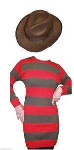 Freddy Ladies Womens Style Costume Striped Jumper Hat  Halloween Fancy Dress