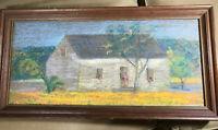 "Antique ""Rural Home And Landscape Scene"" Pastel Painting - Framed"