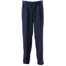 Mens Gents Navy Blue Corporate Uniform Office Work Trousers Pants Front Pleat